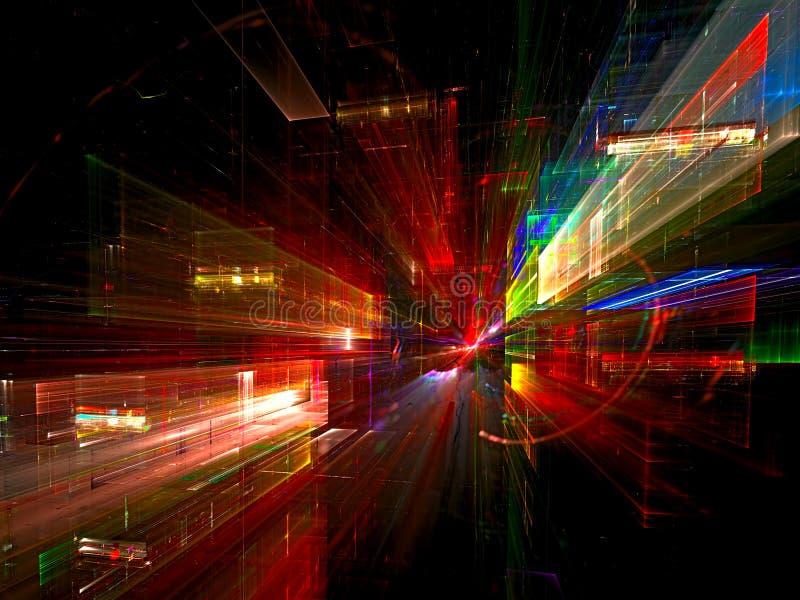Ville de nuit - contexte coloré de fractale illustration stock
