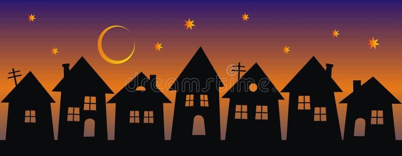 Ville de nuit, groupe de maisons, silhouette noire sur le fond d'arc-en-ciel illustration libre de droits