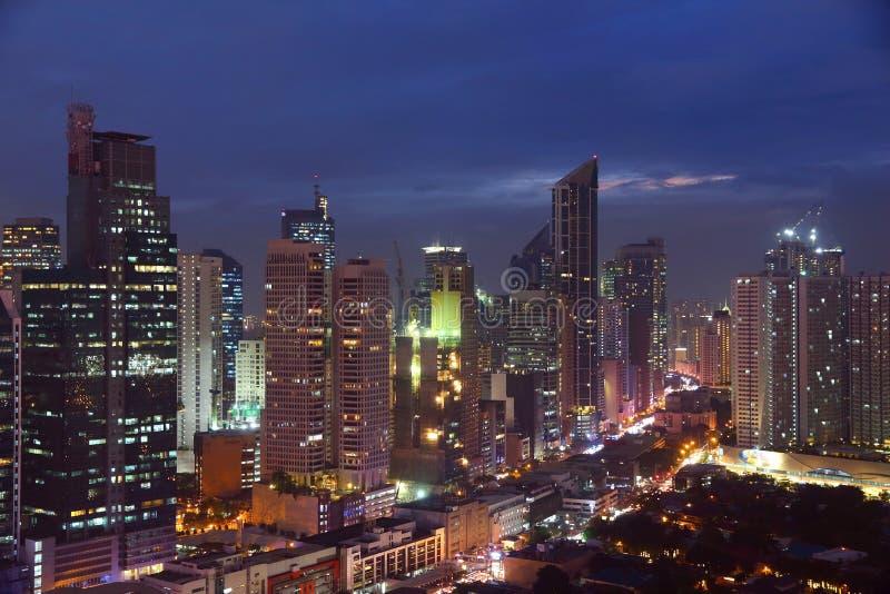 Ville de nuit de Manille images libres de droits