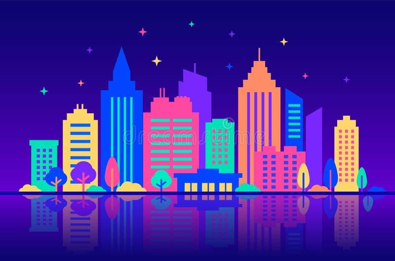 Ville de nuit Silhouettes des b?timents avec la lueur au n?on et les couleurs vives la nuit Calibre de paysage de ville Style pla illustration de vecteur