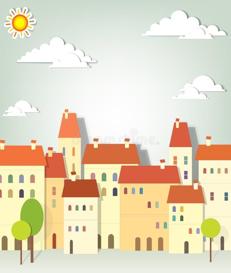 Ville de panorama illustration stock
