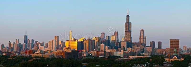 Ville de panorama de Chicago images libres de droits