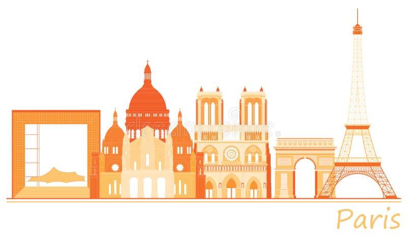 Ville de Paris, panorama de renommée mondiale d'endroits illustration libre de droits