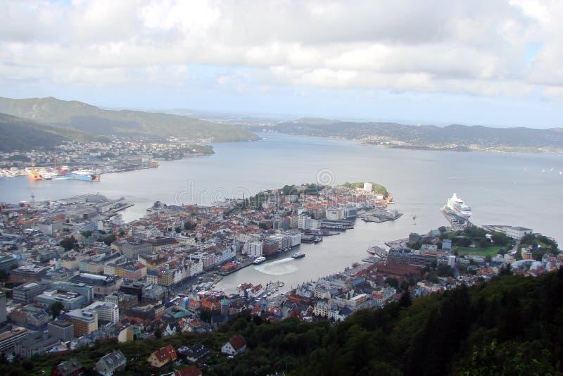 Ville de pièce de Bergen Northern du paysage de ville de la Norvège de la ville scandinave image stock