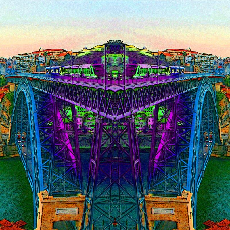 Ville de Porto - Portugal - les couleurs de rivière de Douro illustration stock