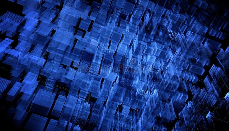 Ville de rendu de Digital 3d Les traînées légères symbolisent des données voyageant dans la ville moderne Particules de données d illustration stock