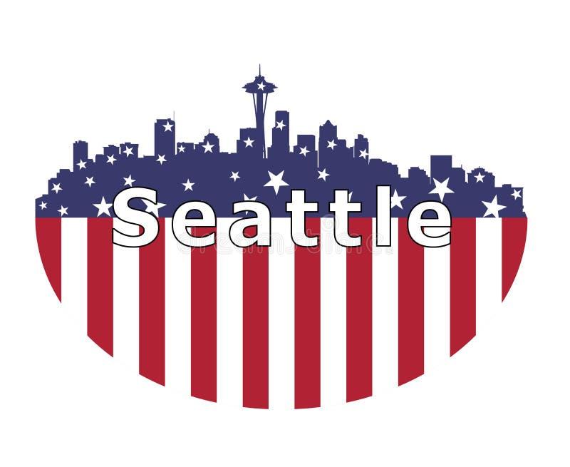 Ville de Seattle et drapeau des Etats-Unis illustration libre de droits
