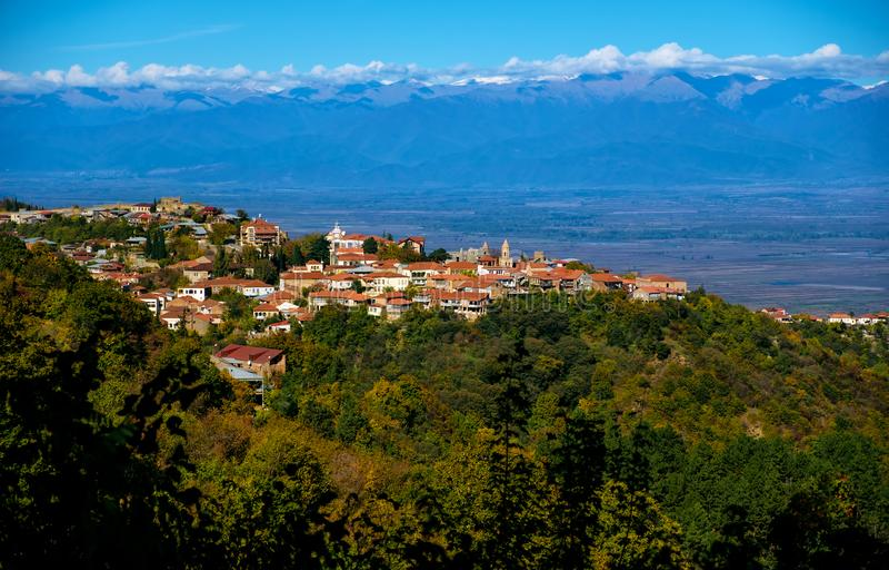 Ville de Sighnaghi ou de Signagi, région de Kakheti de la Géorgie photos libres de droits