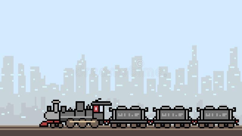 Ville de train d'art de pixel de vecteur illustration libre de droits