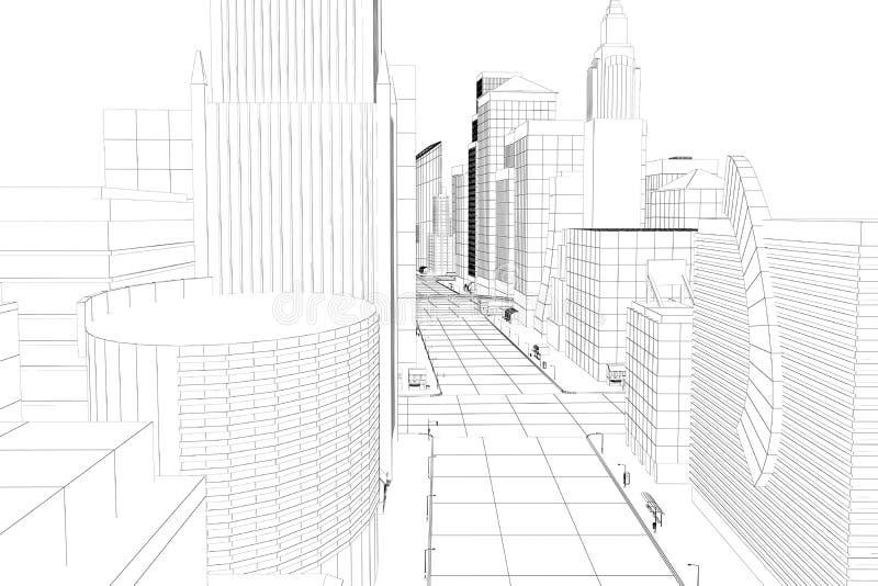Ville de trame de fil illustration de vecteur