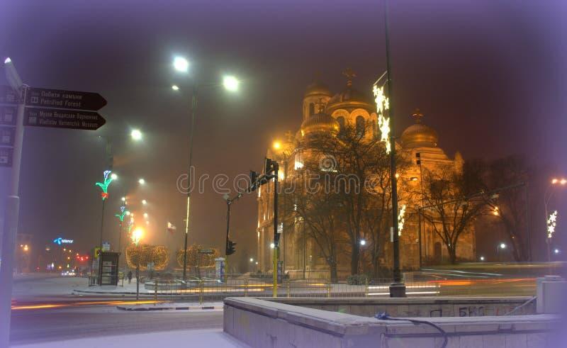 Ville de Varna à l'hiver photographie stock libre de droits