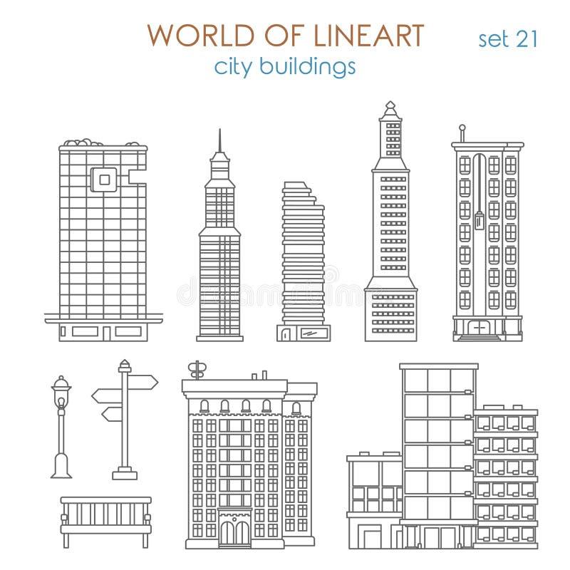 Ville de vecteur de lineart d'architecture : bâtiment municipal public de mail illustration stock