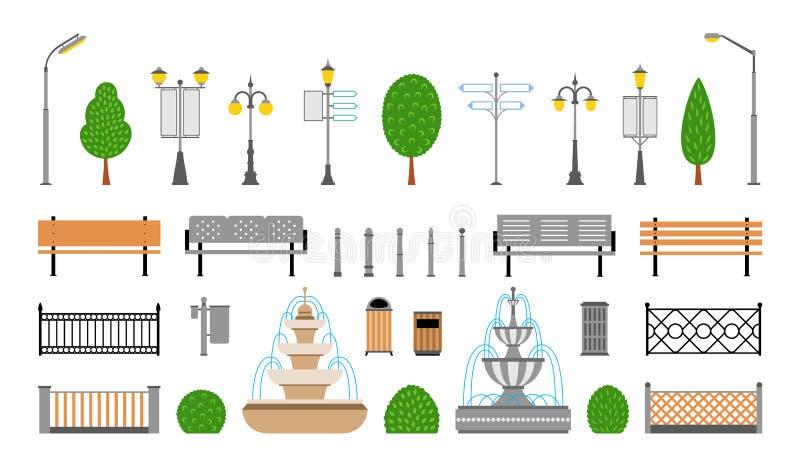 Ville de vecteur, rue, parc et icônes extérieures d'éléments réglés illustration de vecteur