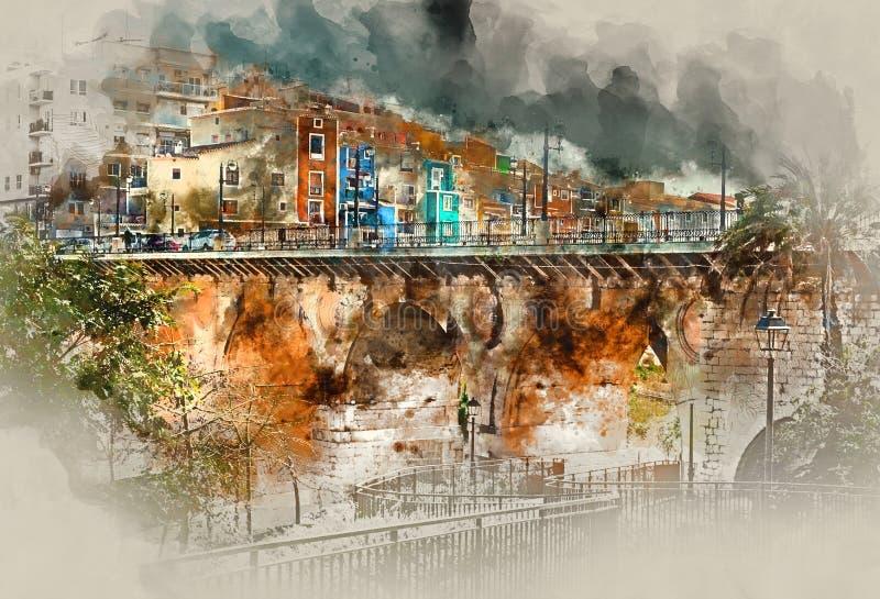 Ville de Villajoyosa Costa Blanca l'espagne illustration stock