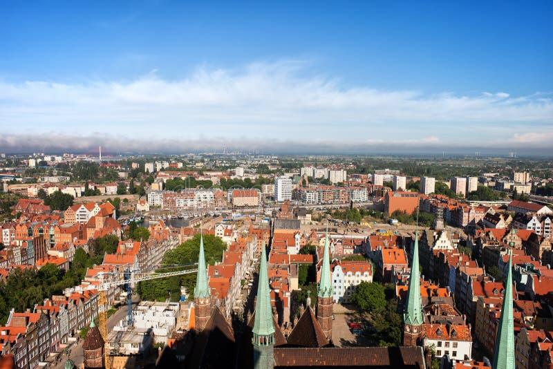 Ville de vue aérienne de Danzig photo libre de droits