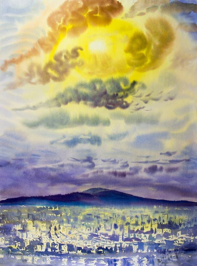 Ville de vue supérieure pendant le matin avec la montagne bleue photos libres de droits