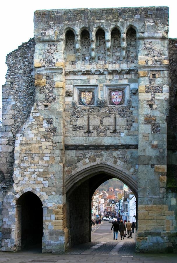 Ville de Winchester, Angleterre, la porte, cuvette médiévale de passage de porte images stock