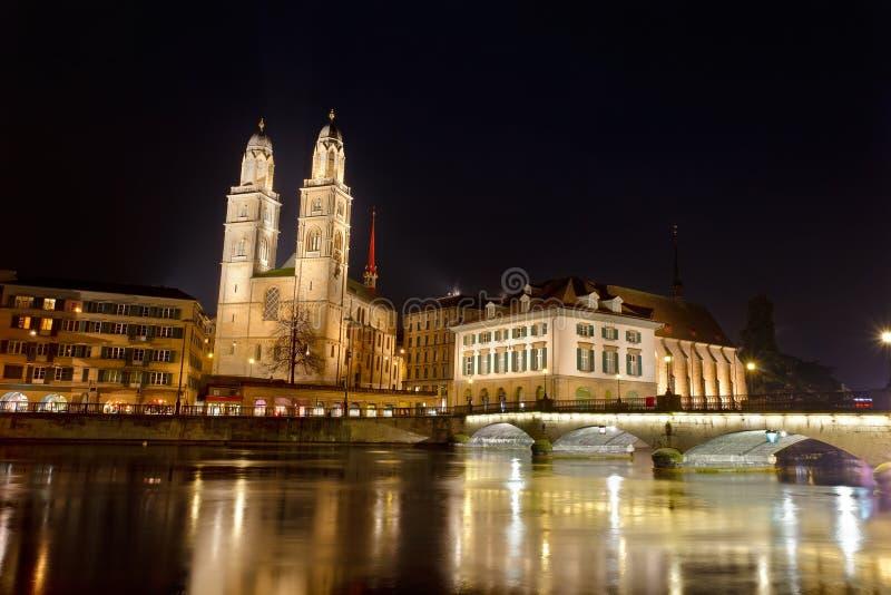 Ville de Zurich, cathédrale de Grossmunster image libre de droits