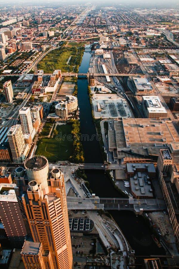 Ville des bâtiments du centre de Chicago Etats-Unis images libres de droits