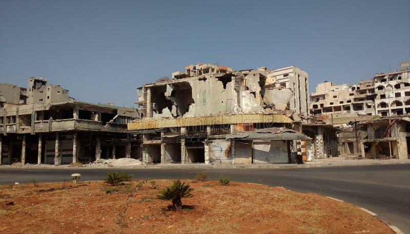 Ville des homs après guerre image libre de droits