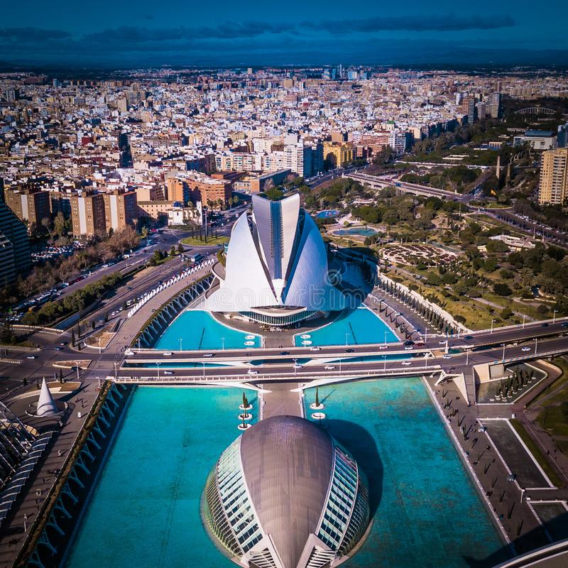 Ville des sciences en Valencia Spain d'une vue aérienne images libres de droits