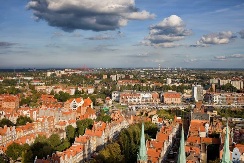 Ville du paysage urbain d'antenne de Danzig images libres de droits