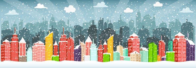 Ville en hiver (Noël) illustration de vecteur