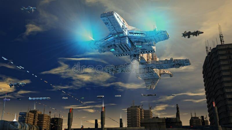 Ville et bateaux futuristes photos libres de droits