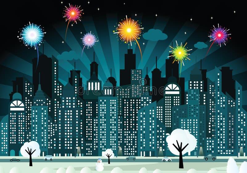 Ville et feux d'artifice de nuit illustration stock