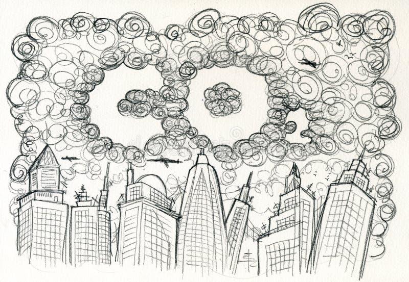 Ville et pollution de CO2 illustration stock