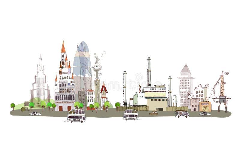 Ville et usine sur la route à grand trafic, fond de collection de ville illustration de vecteur