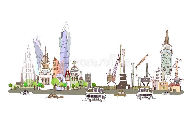 Ville et usine sur la route à grand trafic, fond de collection de ville illustration stock