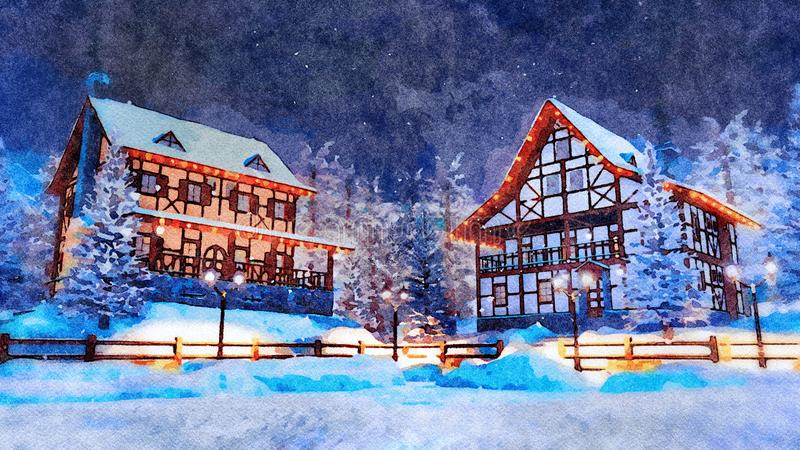Ville européenne bloquée par la neige à l'aquarelle de nuit d'hiver photo libre de droits