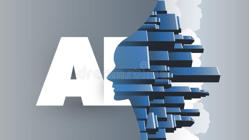 Ville futée, aide globale d'AI, appui automatisé, aide de Digital, profondément étude et future conception de l'avant-projet de t illustration de vecteur