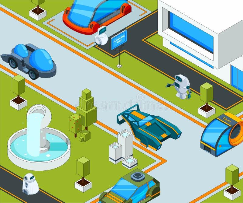 Ville futuriste avec le transport Paysage de ville avec de diverses automobiles illustration de vecteur