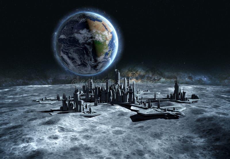 Ville futuriste, base, ville sur la lune La vue de l'espace de la terre de planète expédition rendu 3d illustration libre de droits