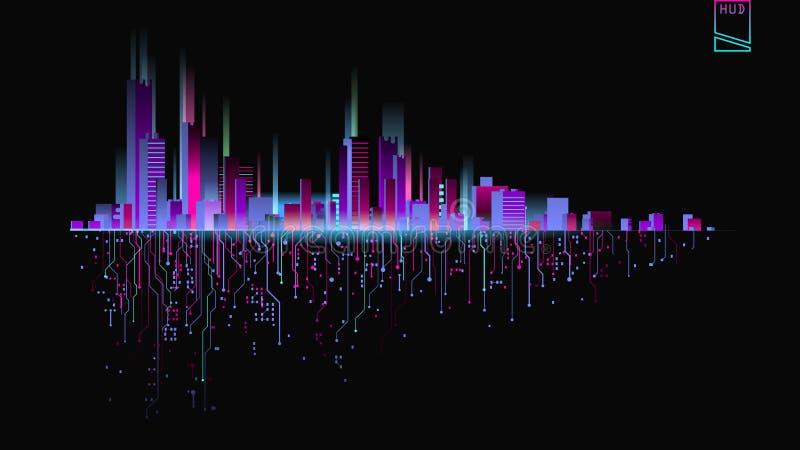 Ville futuriste dans les lampes au néon Rétro style 80s illustration libre de droits