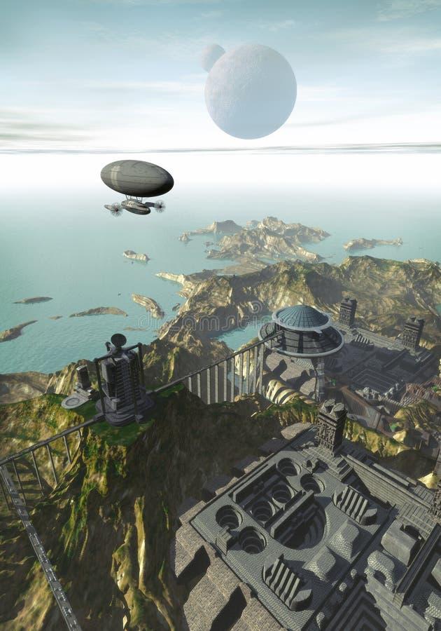 Ville futuriste sur la mer illustration de vecteur