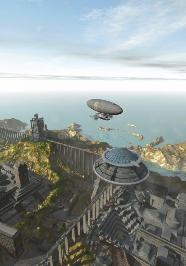 Ville futuriste sur la mer illustration stock