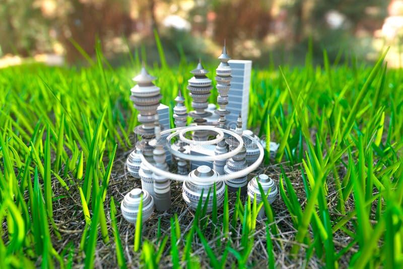 Souvent Ville Futuriste Sur Le Fond D'écologie De Concept D'herbe Verte  RI95