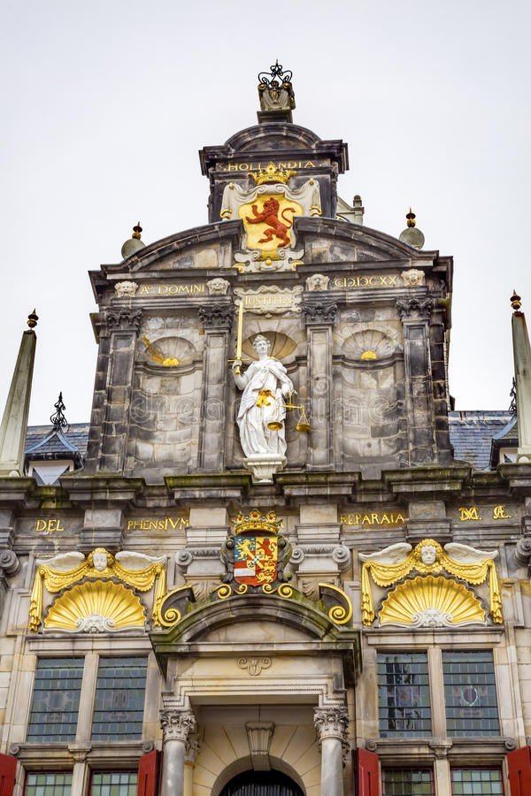 Ville Hall Facade Justice Statue Delft Holland Netherlands photo stock