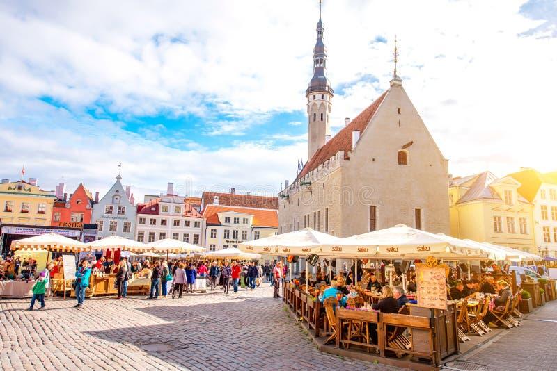 Ville Hall Square à Tallinn photo stock