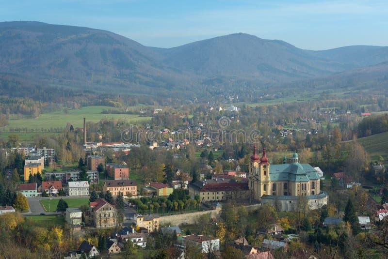 Ville Hejnice, République Tchèque de montagnes de Jizera photo libre de droits