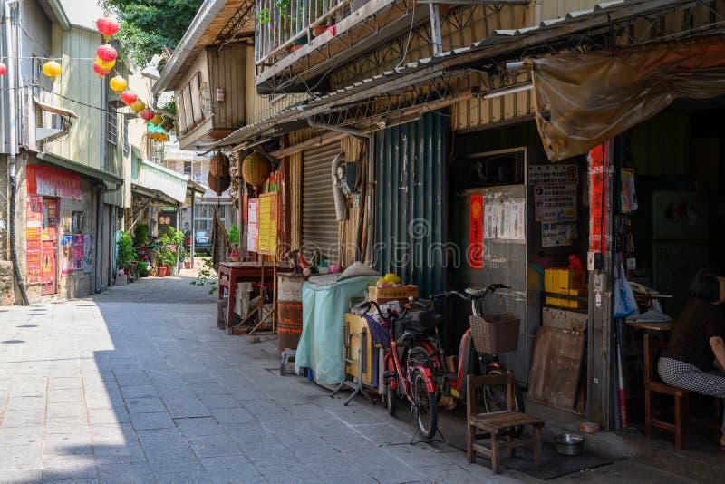 Ville historique de Tainan Rue de Shennong avec les maisons antiques et les lampions colorés à Tainan, Taïwan photo libre de droits