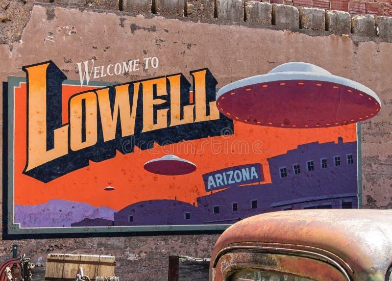 Ville historique originale de Lowell, Arizona photographie stock libre de droits