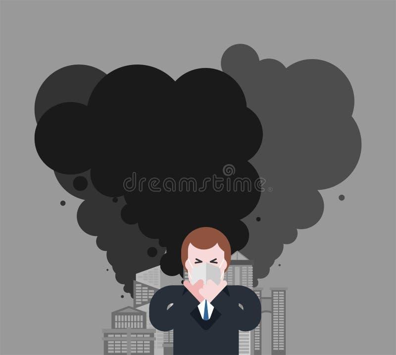 Ville industrielle Homme dans le masque du type de la poussière dans le respirateur Conta illustration de vecteur
