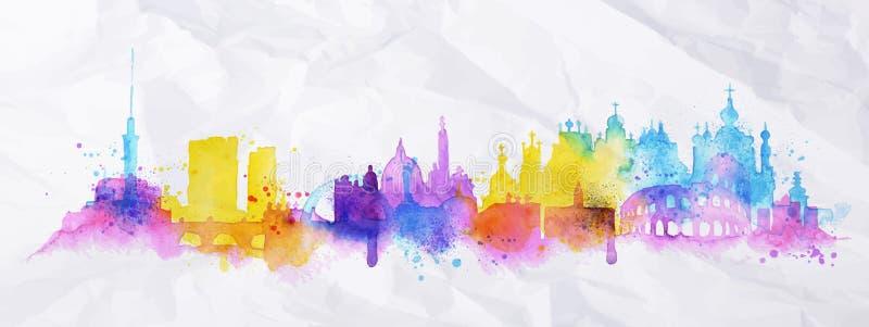 Ville Kiev, Rome de recouvrement de silhouette illustration stock
