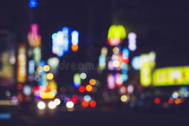 Ville légère colorée au fond de tache floue de nuit photo libre de droits