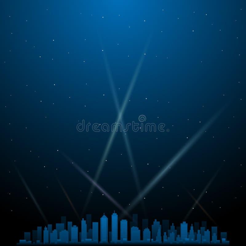 Ville la nuit avec des projecteurs à l'arrière-plan illustration libre de droits