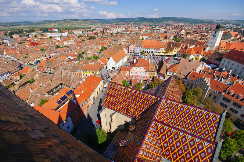 Ville médiévale de Sibiu en Roumanie photo stock